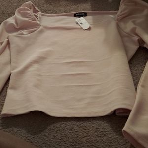 Long sleeve large pink blouse from express